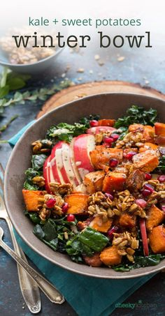 Roasted Sweet Potatoes, Kale, Sunflower Seed Brickle and a lemon-tahini dressing come together in this deliciously warm Winter Bliss Bowl. Or is it a Buddha Bowl? I never can tell.— Cheeky Kitchen tell.— Cheeky Kitchen #fall #dinner #dinnerbowl #vegetarian #buddhabowl #sweetpotato #kale #apple #healthycomfortfood