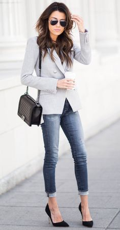 Gray blazer + denim and heels