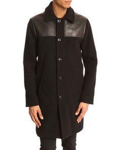 Pardessus en laine et cuir noir Ted MARC BY MARC JACOBS