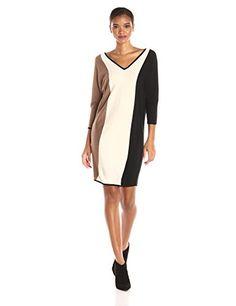 Trina Trina Turk Women's Emil Colorblock Dolman Sleeve Sweater Gown [CUTEST]