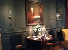 Marlboro room with portrait of P.S. Dupont - the gentlemen who brought his two sons to America; one (E.I.) would go on to found the Dupont Company   ------- Tiffany teaset on table    #winterthur