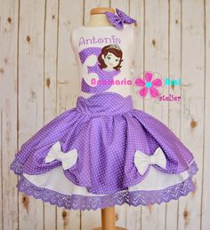 Rochita brodata Printesa Sofia Intai 1an 2ani 3ani personalizata by Anamaria Ami princess sofia the first outfit purple skirt