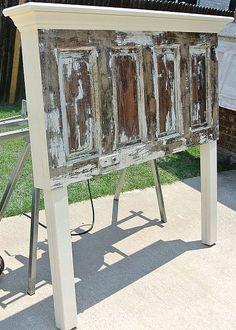 4 panel old door headboard made to fit a queen size bed by Vintage Headboards photo Antique Door Headboards, Headboard From Old Door, Vintage Headboards, Diy Headboards, Headboard Ideas, Painted Headboards, Headboard Door, Door Bed, Painted Furniture