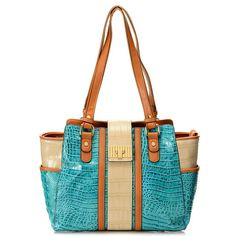 "Madi Claire ""Skylar"" Croco Embossed Leather Tri-color Double Handle East-West Tote Bag evine.com"