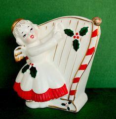 Vintage Christmas Angel Candy Cane Harp Planter Japan Mid Century Lefton Napco Era Figurine Girl Holly Trim Girl