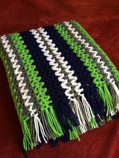 "Seattle Seahawks Colors Inspired Handmade Crocheted Afghan Blue Green White 50"" x 36"" Football Stadium Game Day Blanket Throw GO HAWKS!"
