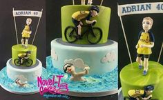 I really enjoyed this one, had free reign as long as the theme was triathlon. Was happy with the finished cake and only cursed a bit while doing the bike ; Dad Cake, Cake & Co, Cake Art, Bicycle Cake, Beach Treats, Sport Cakes, Fondant, Sculpted Cakes, Novelty Cakes