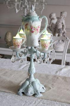 Light blue bas table teacup chandelier