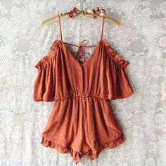 CollectiveStyles.com | Perfect street style. ♥ Fashion inspiration Women apparel | Women's Clothes | Fashion | Style | Dresses | Outfits | #clothes #maxi #fashion #dresses #women #tops #shop The Drifter Romper in Rust - get festival ready in our favorite new boho romper: