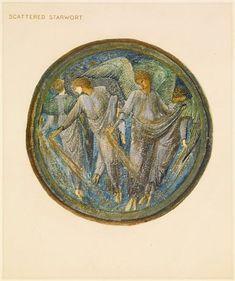 The Flower Book - Scattered Starwort By Sir Edward Burne-Jones 1905 Circular image. Four angels scattering golden seeds.