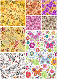 FREE Set of vector spring flower backgrounds and floral patterns with different colorful flowers, butterflies and plants for your designs.  File type: .eps or .ai – vector art & illustrations for Adobe Illustrator. Download is free. Zipped archive.