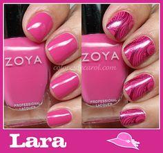 Zoya Nail Polish in Lara stamped with Zoya Carly