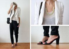 Zara White Blazer, Cos Speckled Tee, Minusey Spiked Lime Necklace, Asos Baggy Leather Trousers, Vj Style Bag, Nelly Heels