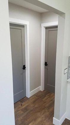 Interior Door Colors, Grey Interior Doors, Door Paint Colors, Interior Paint, Wall Colors, Interior Ideas, Interior Door Knobs, Painted Interior Doors, Interior Design
