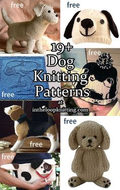 Celebrate National Puppy Day with some free puppy knitting patterns at   http://intheloopknitting.com/dog-knitting-patterns/  #NationalPuppyDay Knitting patterns inspired by dogs, toys, hats, and more. Most are free patterns