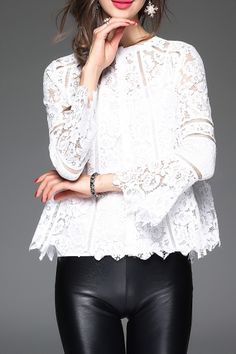 Acemiss White Scallopped Lace Blouse With Cami Tank Top | Blouses at DEZZAL