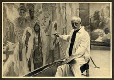 Alphonse Mucha working on his most ambitious project, the Slav Epic.