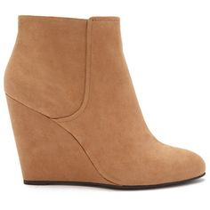 Forever 21 Women's  Faux Suede Wedge Booties ($28) ❤ liked on Polyvore featuring shoes, boots, ankle booties, wedges, forever 21 boots, forever 21 booties, wedge heel boots, wedge booties and lined boots