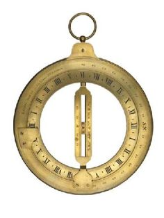 Brass ring dial used by seamen to calculate the time of day when at sea. The dial was made by the mathematical and optical instrument maker Joseph Long who established his business in Little Tower Street in 1821. Long's company continued to produce precision instruments at these premises until 1884 when it moved to 43 East Cheap, finally closing in 1936. - Museum of London