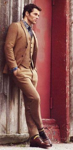 James Marsden wearing Brown Wool Three Piece Suit, Navy Plaid Dress Shirt, Dark Brown Leather Derby Shoes, Navy Tie