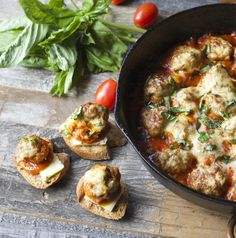 Havarti Smothered Meatballs and Marinara J would love this, he loves meatball subs - but go light on the cheese for me