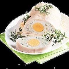 Ingredience: sýr krémový 300 gramů (Lučina, nebo Žervé), tvaroh měkký 150 gramů (tučný nebo polotučný), sůl, pepř bílý (mletý), bylinky 3 lžíce (čerstvé, nasekané, např. kopr a zelená petrželka), šunka 10 plátků, vejce 2 kusy (uvařená natvrdo).