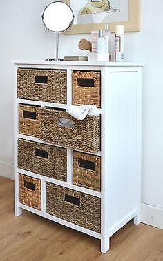 Details About Tetbury Large Storage Unit With Wicker Baskets Bathroom Hallway