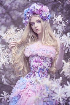 model, photo: Absentia dress, headpiece: Veil corset: Corsetry & Romance