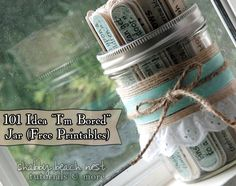 I'm Bored Jar Printable and DIY this is awesome! Even has websites on printable to find recipes and directions! Perfect for summer or any time of year