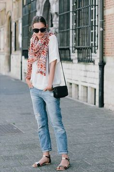 Stay comfy in boyfriend jeans and a slouchy tee.