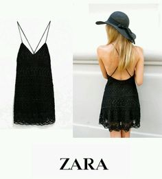 ZARA Black Crochet Embroidered Lace Guipure Mini Summer Dress , Small #ZARA #BohoHippie