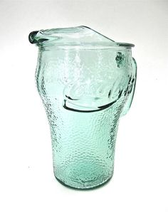 Coca Cola Pebbled Green Glass Pitcher by worldvintage on Etsy