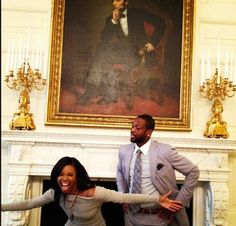 D.Wade & Gabby Union showing out in the White House after the Miami Heat met President Obama. Love it! Caption this...
