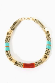 Gold and brightly colored thread POPS! -- salaka rope necklace