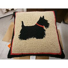Hooked Pillow featuring a Scotty! Now what chair won't this Scottish terrier pillow look great on?