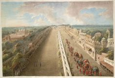 chandni chauk from Lahore Gate c 1814 Idealised view of the Chandni Chowk from the top of the Lahore Gate of the Fort, the canal depicted running down the middle, with the Jami' Masjid immediately (and wrongly) adjacent to the south, and with Lady Loudoun's procession of elephants heading along the street. Inscribed below: 'Great Choke at Delhi.' .