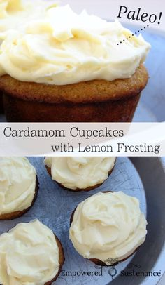 Delicous paleo cupcakes, made with nourishing coconut flour and flavored with cardamom, are topped with a creamy Paleo Lemon Frosting