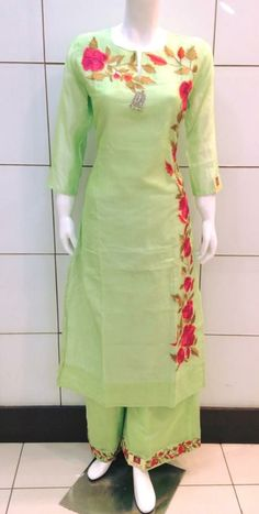 """""""Majajjan Boutique"""" Khanna (PB) India Parrot Suit with red work Wash Care: Dry Clean Call us: 9888511724 Address: Near Dashmesh Hospital, Samrala Road, Khanna. Embroidery Suits Design, Embroidery Designs, Simple Embroidery, Flower Embroidery, Quilting Designs, Hand Embroidery, Pakistani Dresses, Indian Dresses, Indian Outfits"""