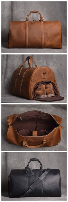 Full Grain Leather Duffle Bag with shoe Compartment,Personalized Leather Travel Weekend Bag,Wedding Gift for Groomsman - Fashion Style Leather Handbags, Leather Wallet, Diy Leather Duffle Bag, Leather Bag Men, Brown Leather, Tooled Leather, Mens Weekend Bag, Leather Weekend Bags, Leather Bag Tutorial