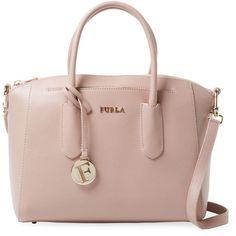 Furla Women's Tessa Small Satchel - Pink (2.826.305 IDR) ❤ liked on Polyvore featuring bags, handbags, pink, leather handbags, brown leather purse, pink purse, leather satchel and pink leather handbags