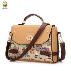 Handbag fashion small women messenger bags handbags women famous brands leather cartoon printing cross body bags