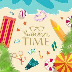 Leisurely summer beach background vector graphics