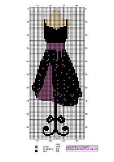 0 point de croix robe noir violet - cross stitch purple black dress