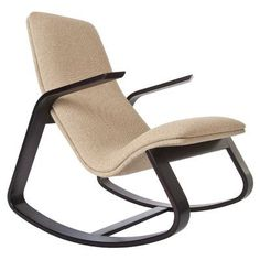 Rapson-Inc. Rapid Rocking Chair Upholstery: Spectrum Blue, Frame Finish: Cocoa-Stained Laminated Maple