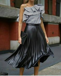 Ruffle + leather pleats.
