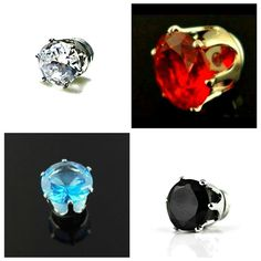 6mm ROUND Clear, Black, Blue, Red MAGNETIC Clip On CZ STUD EARRINGS – Gift Pouch #MagneticStudEarrings