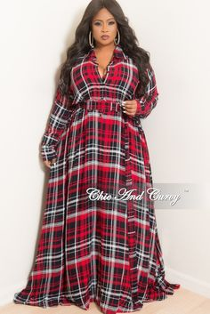 a85dc11156342 Final Sale Plus Size Collar Button Up Maxi Dress with Attached Belt in Red  Plaid Print