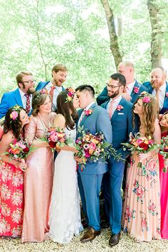 Bright colorful wedding with entire bridal party