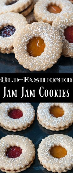 This old-fashioned Jam Jams recipe is a classic for a reason! Soft brown sugar cookies sandwiched with jam and sprinkled with icing sugar make a perfect Christmas cookie recipe or anytime treat! Cookies With Jam, Brown Sugar Cookies, Filled Cookies, Cookies For Kids, Fancy Cookies, Vintage Cookies, Yummy Cookies, Delicious Cookie Recipes, Best Cookie Recipes
