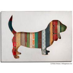 Basset Hound Silhouette Custom Dog Portrait by dolangeiman on Etsy, $249.00